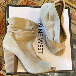 Nine West Suede leather open toe bootie sz 7